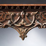 "Detail from a sideboard by William Buckland and carved by William Bernard Sears, 1761-1764, Richmond County, Virginia. Walnut with marble top; HOA: 34-3/16"", WOA: 44-7/8"", DOA: 28"". Collection of the Museum of Early Southern Decorative Arts (MESDA), Acc. 3425."