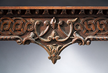 """Detail from a sideboard by William Buckland and carved by William Bernard Sears, 1761-1764, Richmond County, Virginia. Walnut with marble top; HOA: 34-3/16"""", WOA: 44-7/8"""", DOA: 28"""". Collection of the Museum of Early Southern Decorative Arts (MESDA), Acc. 3425."""