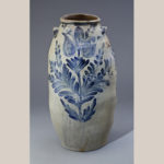 "Fig. 1: Storage jar by David Jarbour, 1830, Alexandria, VA. Inscribed on base: ""1830 / Alexa / Maid By / D,, Jarbour."" Salt-glazed stoneware with cobalt decoration; HOA: 27-3/4"", DIA (at widest point): 14-1/2"". MESDA Collection, Acc. 2964, Gift of Mr. and Mrs. Byron J. Banks. Photo by Wes Stewart."