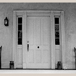 Fig. 23: Detail of West View's front door with storage jars, 1970s. Virginia Department of Historic Resources.