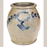 "Fig. 20: Storage jar attributed to Thomas Valentive and retailed by Hugh Smith & Co., 1822–1825, Alexandria, VA. Impressed ""H.SMITH & Co."" on side of body and impressed ""T"" on base. Salt-glazed stoneware with cobalt decoration; HOA: 7-3/4"". Private collection. Photo courtesy Crocker Farm Auctions, Sparks, MD."