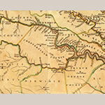 """Fig. 2: Detail of Henrico, Chesterfield, and Prince George counties, VA, from """"A New and Accurate Map of Virginia"""" by John Henry and Thomas Jefferys, 1770, London. Ink on paper; HOA: 38-1/2"""", WOA: 53-1/8"""". Library of Congress Geography and Map Division, G3880 1770 H4."""