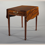 "Fig. 11: Breakfast table by John Shaw, 1790–1795, Annapolis, MD. Mahogany with birch, oak, yellow pine, and tulip poplar; HOA: 27-3/4"", WOA (closed): 20-3/8"", WOA (open): 39"", DOA: 30-1/4"". MESDA Acc. 3125, on loan from the Kaufman American Foundation."