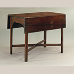 """Fig. 18: Breakfast table attributed to George Donald, 1760–1775, Richmond, VA. Walnut with yellow pine; HOA: 28-3/4"""", WOA (closed): 21-5/8"""", WOA (open): 40-1/8"""", DOA: 37-1/4"""". Collection of the Colonial Williamsburg Foundation, Acc. 1938-210."""