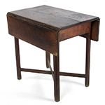"""Fig. 25: Breakfast table possibly from the shop of Thomas Arbuthnot, 1765–1780, Petersburg, VA. Cherry with tulip poplar and oak; HOA: 28"""", WOA (closed): 19-1/4"""", DOA: 29-1/2"""". Private collection; Photograph courtesy of Jeffrey S. Evans & Associates."""