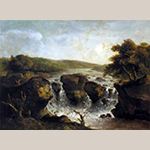 """Fig. 5: """"Falls on the Potomac"""" by George Beck, ca. 1797, Philadelphia, PA. Oil on paper; HOA: 16-1/2"""", WOA: 22-1/2"""". Private Collection; Photograph courtesy of Sotheby's."""