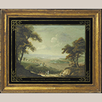 """Fig. 6: """"Georgetown and Washington City"""" by George Beck, ca. 1797, Philadelphia, PA. Gouache on paper in original frame and églomisé mat; HOA: 15"""", WOA: 20"""". Private Collection; Photograph courtesy of Sotheby's."""