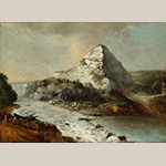 """Fig. 7: """"Boone's Knoll on the Kentucky River at Camp Nelson"""" by George Beck, 1804-1808, Kentucky. Oil on laid paper; HOA: 16-3/4"""", WOA: 23-1/4"""". Collection of the Colonial Williamsburg Foundation, Acc. 1968-502."""