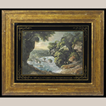 """Fig. 10: """"McCall's Ferry on the Susquehanna"""" by George Beck, ca. 1800, Philadelphia, PA (retailed in Lexington, KY). Watercolor on paper in original frame and églomisé mat; HOA: 13-1/2"""", WOA: 18-3/4"""". Private Collection; Photograph courtesy of Sotheby's."""