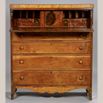 """Fig. 9: Secretary desk by John C. Burgner, 1819, Greene Co. or Washington Co., TN. Cherry, maple, and walnut with yellow pine and tulip poplar; HOA: 50"""", WOA: 43-1/4"""", DOA: 18"""". Collection of the Tennessee State Museum, photograph courtesy of Case Auction, Knoxville, TN."""