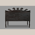 """Fig. 16: Sideboard attributed to Christian Burgner (possibly with the assistance of John C. Burgner), 1840–1860, Greene Co., TN. Walnut with tulip poplar; HOA: 59-1/2"""", WOA: 68"""", WOA: 27"""". MESDA Collection, Acc. 5660.4, Partial Gift of Mary Jo Case."""