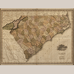 """Fig. 18: """"Map of North and South Carolina"""" by Henry S. Tanner, 1823, Philadelphia, PA. Ink on paper; HOA: 26"""", WOA: 32"""". Wachovia Historical Society Collection (Old Salem Museums & Gardens), Winston-Salem, NC, Acc. P-643."""