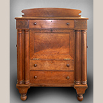 """Fig. 22: Table-top secretary bookcase by John C. Burgner, 1825–1835, Burke Co., NC. Woods unrecorded but probably walnut and tulip poplar; HOA: 67"""", WOA: 49"""", DOA: 24"""". Private collection, MESDA Object Database file D-32545."""