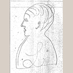 Fig. 26: Profile of a woman, possibly Eliza Cobb Burgner, on page 89 of the John C. Burgner Ledger Book. Photocopy of the original. Collection of the Haywood County Historical & Genealogical Society, Waynesville, NC; photocopy held by the Anne P. and Thomas A. Gray Library, Call No. TT 197 B8, Old Salem Museums & Gardens, Winston-Salem, NC.
