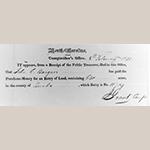 Fig. 31: Receipt issued 8 February 1833 for John C. Burgner's 640 acres of land in Burke Co., NC.