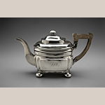 "Fig. 6: Teapot marked by Asa Blanchard (with manufacturer mark of John McMullin, Philadelphia, PA), 1810-1820, Lexington, KY. Silver; replaced handle; HOA: 6-1/4"", WOA: 11"", DOA: 4-1/2"". MESDA Acc. 5779.1, James H. Willcox Jr. Silver Purchase Fund."