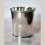 "Fig. 11: One of a pair of beakers marked by Asa Blanchard (with manufacturer mark of John McMullin, Philadelphia, PA), 1810-1820, Lexington, KY. Silver; HOA: 3-1/4"", DIA (at top): 3"", DIA (at bottom): 2-1/2"". Private Collection; MESDA Object Database, file D-32519."