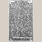 Fig. 15: Advertisement placed by Asa Blanchard, 28 February 1807, Kentucky Gazette  and General Advertiser, Lexington, KY.