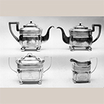 "Fig. 20: Four-piece tea service marked by Asa Blanchard, 1808-1834, Lexington, KY. Silver; Coffeepot, HOA: 6-1/2"", WOA: 10-1/4"", DOA 5""; Teapot: HOA: 6"", WOA: 10"", DOA 4-3/4""; Sugar Bowl: HOA 5-3/4"", WOA: 8-1/8"", DOA 4-3/4""; Cream Pitcher: HOA 4-1/2""; WOA: 5-3/8""; DOA 3-1/2"". MESDA Object Database, file S-3311."