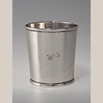 "Fig. 23: Beaker marked by Asa Blanchard (with manufacturer mark of John McMullin, Philadelphia, PA), 1808-1838, Lexington, KY. Silver; HOA: 3-1/4"". MESDA Acc. 2033.1, MESDA Purchase Fund."