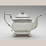 "Fig. 27: Teapot marked by Harvey Lewis, 1820-1825, Philadelphia, PA. Silver; HOA: 7- 3/16"", WOA: 11"", DOA: 5-5/16"". Collection of the Philadelphia Museum of Art, Acc. 1953-112-3, Gift of the Misses Chambers."