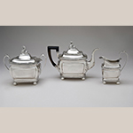 "Fig. 28: Three-piece tea service marked by Anthony Rasch, 1814-1816, Philadelphia, PA. Silver; Teapot: HOA: 7-15/16"", WOA: 11"", DOA 5-5/16""; Sugar Bowl: HOA 7-3/16"", WOA: 8-3/8"", DOA 5-1/16""; Cream Pitcher: HOA 6-1/4""; WOA: 5-5/16""; DOA 3-1/16"". Collection of the Philadelphia Museum of Art, Acc. 2010-145-3, 2010, 145-2, and 2010- 145-1a,b; Gift of Robert T. Trump and Sandra S. Trump."