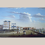 "Fig. 2: ""View Along East Battery"" by Samuel Barnard, 1831, Charleston, SC. Oil on canvas; HOA: 23-3/4"", WOA: 35-1/4"". Mabel Brady Garvan Collection, Yale University Art Gallery Acc. 1932.282."