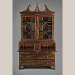 "Fig. 12: Secretary bookcase attributed to the Jacob Sass Shop, 1790-1800, Charleston, SC. Mahogany and mahogany veneer with red cedar and white pine; HOA: 104"", WOA: 55-3/8"", DOA: 24-3/8"". MESDA Acc. 5775; MESDA Purchase Fund and Gift of Patty and Bill Wilson. MESDA Object Database file S-15325."