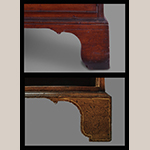 Fig. 15: Foot profiles of the signed Sass desk and bookcase (Fig. 4, above) and the secretary bookcase (Fig. 12, below).
