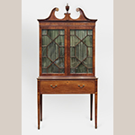 "Fig. 21: Secretary bookcase attributed to the Jacob Sass Shop, 1785-1795, Charleston, SC. Mahogany and mahogany veneer with cypress and yellow pine; HOA: 101-3/4"", WOA: 49-13/16"", DOA: 24-7/16"". Baltimore Museum of Art Acc. 1946.141. MESDA Object Database file D-32530."