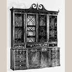 "Fig. 23: Library bookcase attributed to the Jacob Sass Shop, 1790-1795, Charleston, SC. Mahogany and mahogany veneer with mahogany, red cedar, and cypress; HOA: 124-3/4"", WOA: 98-5/8"", DOA: 25-3/4"". Mabel Brady Garvan Collection, Yale University Art Gallery Acc. 1930.2023. MESDA Object Database file S-10890."