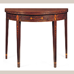 "Fig. 24: Card table attributed to the Jacob Sass Shop, 1790-1795, Charleston, SC. Mahogany and mahogany veneer with white pine and black walnut; HOA: 28-1/2"", WOA: 36"", DOA (closed): 17-5/8"". Private collection. Photograph by Gavin Ashworth, NYC. MESDA Object Database file S-29218."