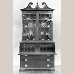 "Fig. 35: Secretary bookcase, 1795-1805, Charleston, SC. Mahogany and mahogany veneer with cypress; HOA: 98-3/4"", WOA: 49-5/8"", DOA: 24-5/8"". Historic Columbia Foundation Acc. 1968.2.1 MESDA Object Database file S-2422."