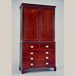 "Fig. 38: Secretary linen press attributed to the John Gros Shop (ca. 1798-1804) or the partnership of Gros & Lee (1804-1807), Charleston, SC. Mahogany and mahogany veneer with red cedar, tulip poplar, yellow pine, and white pine; HOA: 94-3/4"", WOA: 50-1/2"", DOA: 23-3/4"". Colonial Williamsburg Foundation Acc. 1992-175,1. MESDA Object Database file S-14656."
