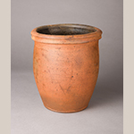 """Fig. 7: Earthenware crock with manganese-glazed interior attributed to Abraham Spencer, 1860–1873, Strasburg, VA. Incised with an """"A"""" on outside of body. Museum of the Shenandoah Valley, Acc. 2018-01-01."""