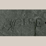 "Fig. 8: Detail of the word ""Wife"" carved into Priscilla Hemmings's grave marker (Fig. 6)."