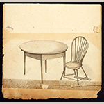 Fig. 10: Drawing of the circular table by John Hemmings and a Windsor chair at Poplar Forest by Cornelia Jefferson Randolph, undated. Jefferson, Randolph, and Trist Family Papers, University of Virginia Library, Charlottesville, VA.