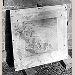Fig. 17: Backside of one of Monticello's parquet floor panel showing screw construction (photo taken ca. 1954). Courtesy of Monticello and the Thomas Jefferson Foundation.