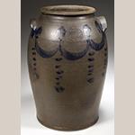 "Fig. 2: Jar by Lewis Gardner (ca.1778–1850), 1820–1830, Loudoun Co., VA. Stamped ""L.GARDNER, LOUN/VA."" Salt-glazed stoneware; HOA: 13-1/4"", DIA of rim: 6-1/4"". MESDA, The William C. and Susan S. Mariner Collection, Acc. 5848. Photograph courtesy of Jeffrey S. Evans & Associates."