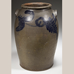 Fig. 4: Circle and fern decoration in brushed cobalt on the jar illustrated in Fig. 2. Photograph courtesy of Jeffrey S. Evans & Associates.