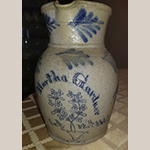 """Fig. 18: Cobalt-decorated stoneware pitcher by James B. Gardner, 1867, Warren Township, Missouri. Inscribed """"Martha Gardner"""" and """"Oct. 12th, 1867"""". Collection of Jeff and Jill Plato. Photograph courtesy of Jeff Plato."""