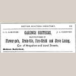 Fig. 19: Advertisement for the Gardner Brothers pottery, Colorado State Business Directory (Denver, CO: J. A. Blake, 1879).