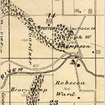 Fig. 21: Detail of George M. Gardner's pottery on his property in Fabius Township, MO from an Atlas Map of Marion County, Missouri by Thaddeus M. Rogers (Quincy, IL: T.M. Rogers, 1875). p. 53. Collection of the State Historical Society of Missouri. Available online: https://digital.shsmo.org/digital/collection/plat/id/5634 (accessed 9 October 2019).