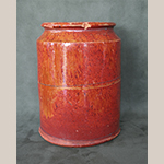"""Fig. 24: Jar attributed to Gardner-Duncan family, ca. 1843, Loudoun Co., VA. Inscribed on base: """"Lees / burg / Louden / County / Va / 1843 / Gum Spring"""" with an incised triangle. Redware, possibly with manganese glaze; HOA: 7"""". Private collection. Photograph by the author."""