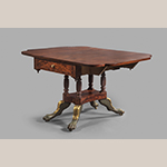 "Fig. 17: Breakfast Table by James Woodward (w.1793–1839), 1819, Norfolk, VA. Mahogany with mahogany, tulip poplar, white pine, and sycamore; HOA: 27-5/8""; WOA: 50-3/4""; DOA: 38"". MESDA, Acc. 3813."
