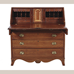 "Fig. 13: Desk signed by Thomas Kinnard, ca. 1820, Jonesborough, TN. Cherry with tulip poplar and yellow pine and lightwood inlay; HOA: 45-1/8"", WOA: 42-1/2"", DOA: 19"". Private collection; MESDA Object Database file S-61281; photographs courtesy of Charlton Hall Auctions, Columbia, SC."
