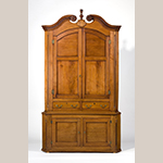 "Fig. 24: Corner cupboard by Moses Crawford, 1790-1800, Knox Co., TN. Walnut with yellow pine and tulip poplar; HOA: 101-1/4"", WOA: 56-1/2"", DOA: 23-1/2"". MESDA Collection, Acc. 5422."