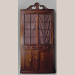 "Fig. 43: Corner cupboard, 1805–1815, Washington Co. or Greene Co., TN. Walnut with darkwood and lightwood inlay (secondary wood not recorded); HOA: 96-7/8"", WOA: 43"". Private collection; MESDA Object Database file S-13028."