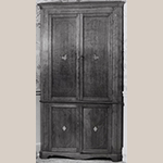 "Fig. 47: Corner cupboard, 1810–1820, Washington Co. or Greene Co., TN. Cherry with tulip poplar and lightwood inlay; HOA: 84-1/4"", WOA: 40-3/4"". Private collection; MESDA Object Database file S-4382."