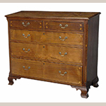 "Fig. 62: Chest of drawers, 1800–1810, Washington Co., TN. Walnut with tulip poplar and lightwood inlay; HOA: 38"", WOA: 44"", DOA: 18-1/2"". Private collection; Photographs courtesy of Brunk Auctions, Asheville, NC."